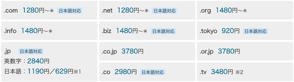 バリュードメイン料金(2020/3/19時点)